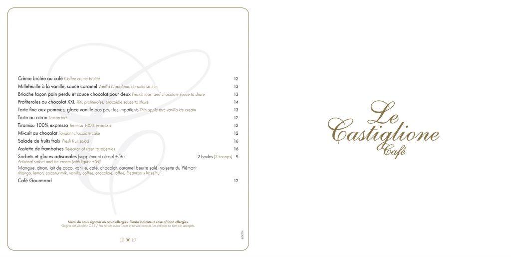 Le Castiglione, restaurant rue Saint-Honoré